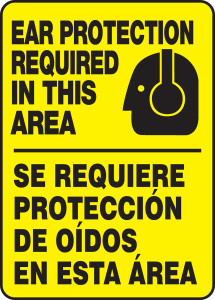 """Safety Sign: Ear Protection Required In This Area, 14"""" x 10"""", Pack/10"""