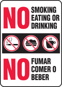 "Bilingual Safety Sign: No Smoking Eating Or Drinking, 14"" x 10"", Pack/10"