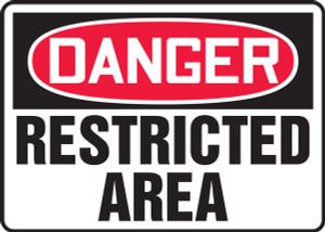 "OSHA Safety Sign - DANGER: Restricted Area, 14"" x 20"", Pack/10"