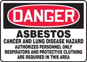 """OSHA Safety Sign - DANGER: Asbestos Cancer And Lung Disease Hazard - Authorized personnel Only - Respirators And Protective Clothing Are Required, 14"""" x 20"""", Pack/10"""