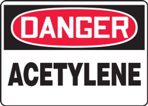 "OSHA Safety Sign - DANGER: Acetylene, 14"" x 20"", Pack/10"