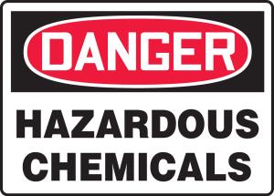 "OSHA Safety Sign - DANGER: Hazardous Chemicals, 14"" x 20"", Pack/10"