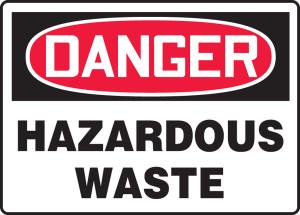 "OSHA Safety Sign - DANGER: Hazardous Waste, 14"" x 20"", Pack/10"
