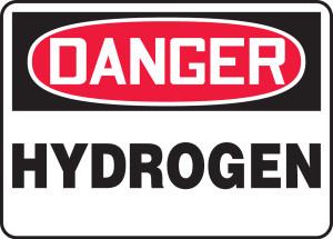 """OSHA Safety Sign - DANGER: Hydrogen, 14"""" x 20"""", Pack/10"""