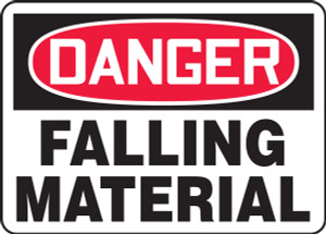 "OSHA Safety Sign - DANGER: Falling Material, 14"" x 20"", Pack/10"