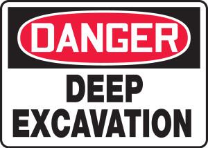 """OSHA Safety Sign - DANGER: Deep Excavation, 14"""" x 20"""", Pack/10"""