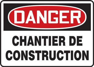 "OSHA Safety Sign - DANGER: Construction Area, 14"" x 20"", Pack/10"