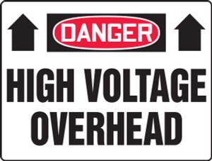 "OSHA Safety Sign - DANGER: High Voltage Overhead, 14"" x 20"", Pack/10"