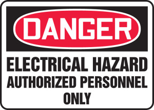 """OSHA Safety Sign - DANGER: Electrical Hazard - Authorized Personnel Only, 14"""" x 20"""", Pack/10"""