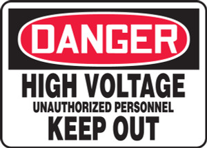 """OSHA Safety Sign - DANGER: High Voltage - Unauthorized Personnel Keep Out, 14"""" x 20"""", Pack/10"""