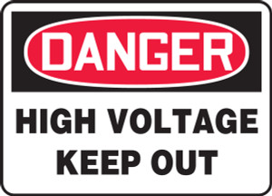 "OSHA Safety Sign - DANGER: High Voltage - Keep Out, 14"" x 20"", Pack/10"
