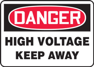 "OSHA Safety Sign - DANGER: High Voltage - Keep Away, 14"" x 20"", Pack/10"