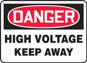 "OSHA Safety Sign - DANGER: High Voltage - Keep Away, 14"" x 20"", Pack/10"
