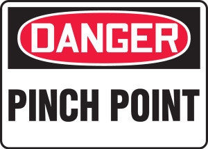 "OSHA Safety Sign - DANGER: Pinch Point, 14"" x 20"", Pack/10"