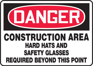 "OSHA Safety Sign - DANGER: Construction Area - Hard Hats And Safety Glasses Required Beyond This Point, 14"" x 20"", Pack/10"