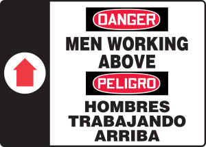 "Bilingual OSHA Safety Sign - DANGER: Men Working Above, 14"" x 20"", Pack/10"