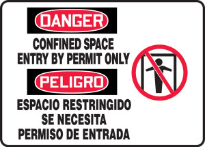"Bilingual OSHA Safety Sign - DANGER: Confined Space Entry By Permit Only, 14"" x 20"", Pack/10"