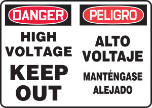"""Bilingual OSHA Safety Sign - DANGER: High Voltage - Keep Out, 14"""" x 20"""", Pack/10"""