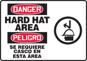 "Bilingual OSHA Safety Sign - DANGER: Hard Hat Area, 14"" x 20"", Pack/10"