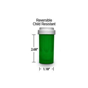 Green Pharmacy Vials, Reversible / Child Resistant Caps, 13 dram (3/4 oz)