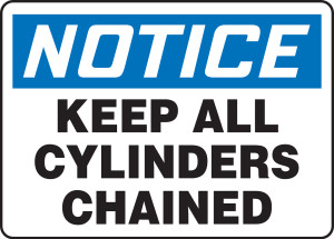 "OSHA Safety Sign - NOTICE: Keep All Cylinders Chained, 14"" x 20"", Pack/10"