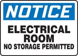 """OSHA Notice Electrical Safety Sign: Electrical Room - No Storage Permitted, 14"""" x 20"""", Pack/10"""