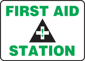 "Safety Sign: First Aid Station, 14"" x 20"", Pack/10"