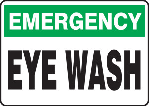 "Emergency Safety Sign: Eye Wash, 14"" x 20"", Pack/10"