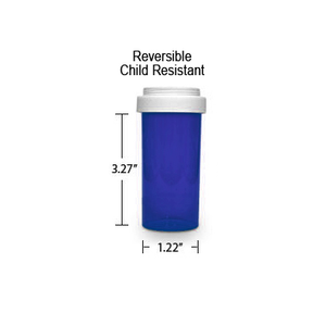 Blue Pharmacy Vials, Reversible / Child Resistant Caps, 16 dram (1 oz)