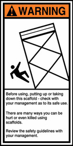 "ANSI Warning Safety Sign: Construction Site - Before Using, Putting Up Or Taking Down This Scaffold, 14"" x 7"", Pack/10"