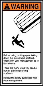 "ANSI Warning Safety Signs: Construction Site - Before Using, Putting Up or Taking Down This Suspended Scaffold, 14"" x 7"", Pack/10"