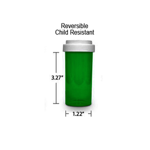 Green Pharmacy Vials, Reversible / Child Resistant Caps, 16 dram (1 oz)