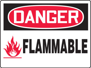 """OSHA Safety Sign - DANGER: Flammable, 18"""" x 24"""", Pack/10"""