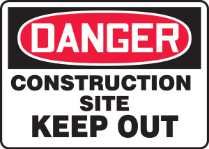 """OSHA Safety Sign - DANGER: Construction Site - Keep Out, 18"""" x 24"""", Pack/10"""