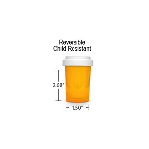 Amber Pharmacy Vials, Reversible / Child Resistant Caps, 20 dram (1.25 oz)