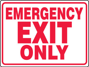 """Safety Sign: Emergency Exit Only, 18"""" x 24"""", Pack/10"""