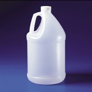 Plastic Bleach Jug with Handle, 1 gallon HDPE, Lightweight, case/24