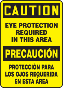"""Bilingual OSHA Safety Sign - CAUTION: Eye Protection Required In This Area, 20"""" x 14"""", Pack/10"""