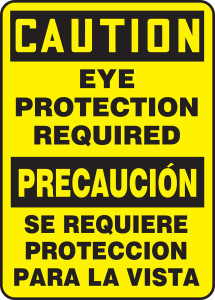 """Bilingual Spanish OSHA Safety Sign - CAUTION: Eye Protection Required, 20"""" x 14"""", Pack/10"""