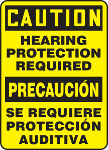 """Bilingual Spanish OSHA Safety Sign - CAUTION: Hearing Protection Required, 20"""" x 14"""", Pack/10"""