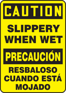 "Bilingual OSHA Safety Sign - CAUTION: Slippery When Wet, 20"" x 14"", Pack/10"