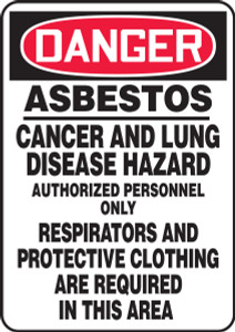 """OSHA Safety Sign - DANGER: Asbestos - Cancer And Lung Disease Hazard - Authorized Personnel Only, 20"""" x 14"""", Pack/10"""
