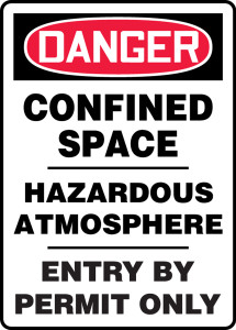 "OSHA Safety Sign - DANGER: Confined Space - Hazardous Atmosphere - Entry By Permit Only, 20"" x 14"", Pack/10"