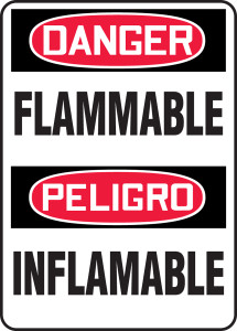 """Bilingual OSHA Safety Sign - DANGER: Flammable, 20"""" x 14"""", Pack/10"""