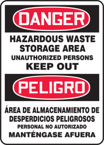 "OSHA Danger Bilingual Safety Sign: Hazardous Waste Storage Area Unauthorized Persons Keep Out, 20"" x 14"", Pack/10"