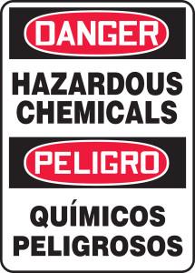 "OSHA Danger Bilingual Safety Sign: Hazardous Chemicals / Químicos Peligrosos, 20"" x 14"", Pack/10"