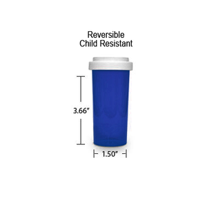 Blue Pharmacy Vials, Reversible / Child Resistant Caps, 30 dram (1.875 oz)