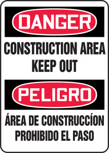 "Bilingual OSHA Safety Sign - DANGER: Construction Area - Keep Out, 20"" x 14"", Pack/10"