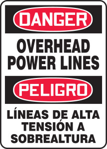 """Bilingual OSHA Safety Sign - DANGER: Overhead Power Lines, 20"""" x 14"""", Pack/10"""