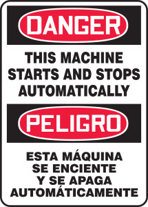 "Bilingual OSHA Safety Sign - DANGER: This Machine Starts And Stops Automatically, 20"" x 14"", Pack/10"